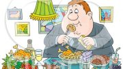 1212538-Cartoon-Of-A-Gluttonous-Obese-Man-Eating-A-Feast-Royalty-Free-Vector-Clipart